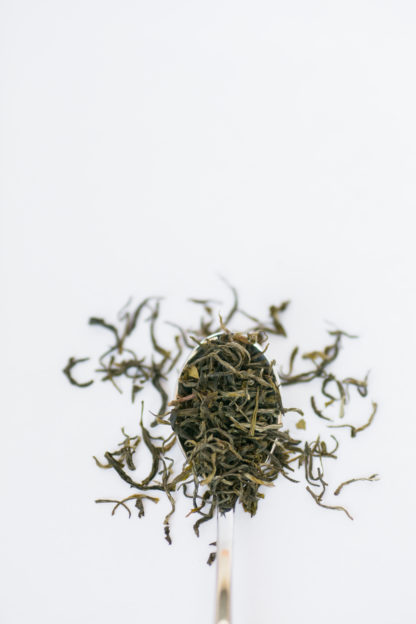 Wiry green tea leaves overflowing the silver spoon onto the white background