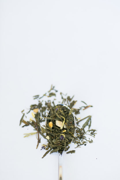 Flat dried green tea leaves are blended with jasmine flowers and orange pieces of dried mango displayed on a silver spoon overflowing onto a pure white background