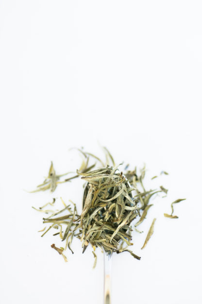 Dark blue lavender florets dot a spoonful of light green and white tea needles on a white background