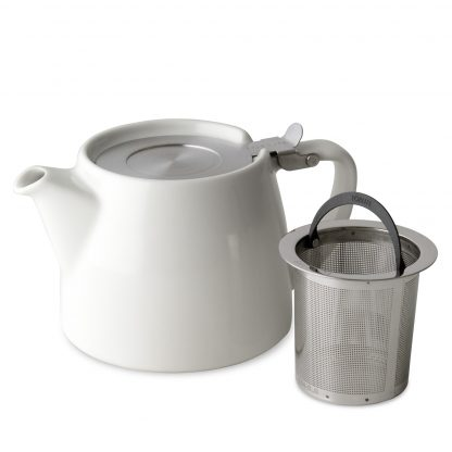 Pure white cylindrical teapot with short curved spout and squared handle, stainless steel lid with squared handle, and stainless steel infuser basket with rounded handle on white background