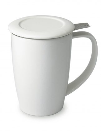 Pure white ceramic tea mug with curved handle and flat ceramic lid with stainless steel steeping basket handle extended out over the handle on a white background