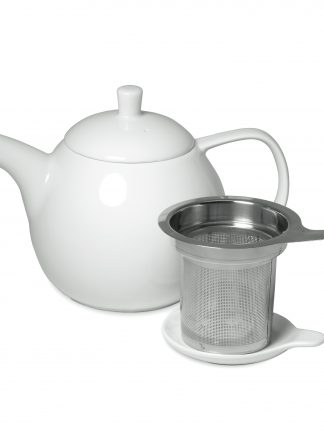 Pure white round teapot with curved spout and handle, lid with post handle, and stainless steel infuser basket with handle and saucer lid on white background