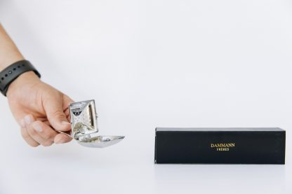 Rectangular silver tea steeping spoon with hinged lid and curved handle in black gift box displayed on a white background